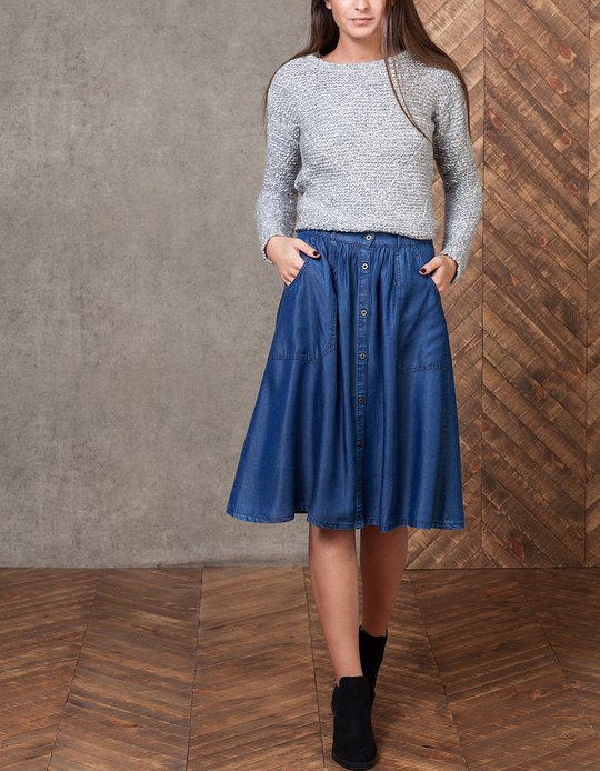 Black A Line Denim Skirt 2017 | Dress Ala - Part 597